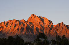 Mount Humphreys Sunset. With orange alpenglow from the Humphreys Basin in the Sierra Nevada mountains Stock Images