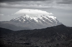 Mount Illimani. The great snow covered Illimani Mountain next to the city of La Paz, Bolivia Royalty Free Stock Photos