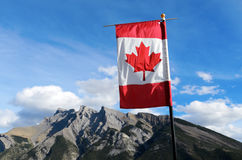 Mount Inglismaldie and Canadian Flag Stock Photos