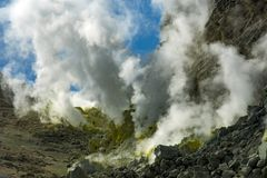 Mount Io-zan, naked mountain, Hokkaido, Japan royalty free stock photography