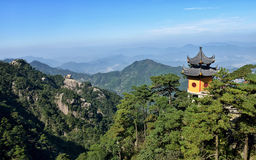 Mount Jiuhua. Is one of the four sacred mountains of Chinese Buddhism. It is located in Qingyang County in Anhui province and is famous for its rich landscape Royalty Free Stock Photo
