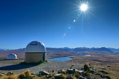 Mount John Observatory and Lake Alexandrina near Lake Tekapo in Canterbury Stock Photos