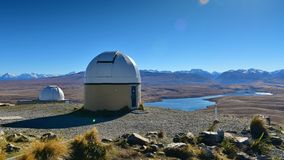 Mount John Observatory and Lake Alexandrina near Lake Tekapo Royalty Free Stock Photography