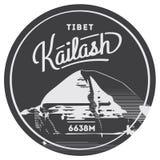 Mount Kailash in Himalayas, Tibet outdoor adventure badge. mountain illustration. Royalty Free Stock Photos