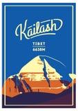 Mount Kailash in Himalayas, Tibet outdoor adventure poster. mountain illustration. Royalty Free Stock Photo