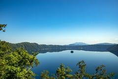Mount Kamui and the beautiful clear blue Lake Mashu. Observatory, hokkaido stock photography