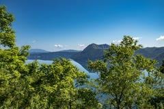 Mount Kamui and the beautiful clear blue Lake Mashu. Observatory, hokkaido stock images