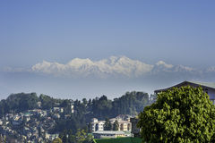 Mount Kanchenjunga and Darjeeling. Indian town Darjeeling with Kanchenjunga mountain in background Stock Photo