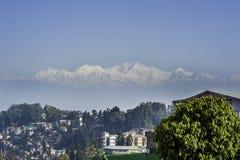 Mount Kanchenjunga and Darjeeling Stock Photo