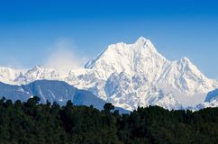 Mount Kanchenjunga range of the himalayas at first light. Of sunrise at Sikkim , India royalty free stock photography