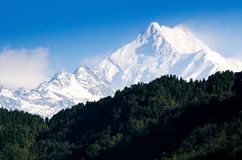 Mount Kanchenjunga range of the himalayas Royalty Free Stock Photography