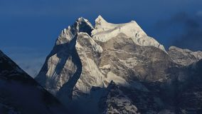 Glacier on top of mount Kangtega, Sagarmatha National Park, Nepal. View from the Gokyo valley. Mount Kangtega and glacier. Nepal royalty free stock photo