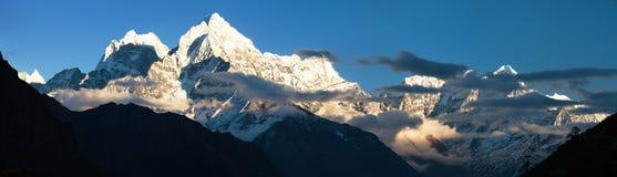 Mount Kangtega and mount Thamserku Royalty Free Stock Images