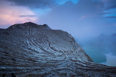 Mount Kawah Ijen volcano sunrise in East Java, Indonesia. Royalty Free Stock Images