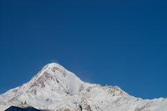Mount Kazbek Gergeti Trinity Church Royalty Free Stock Images