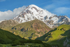Mount Kazbek, Kazbegi region, Georgia. Magnificent view of the Mount Kazbek, Kazbegi region, Georgia Stock Images