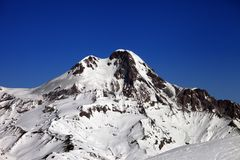 Mount Kazbek at nice winter day Stock Photos