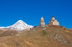 Mount Kazbek and Trinity Monastery, Georgia Royalty Free Stock Images