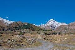 Mount Kazbek and Trinity Monastery, Georgia Royalty Free Stock Images