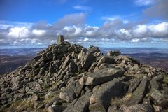 Mount Keen summit. Cairngorm Mountains, Aberdeenshire, Scotland. UK royalty free stock photos