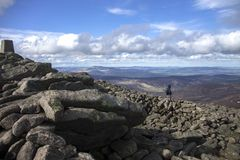 Mount Keen summit. Cairngorm Mountains, Aberdeenshire, Scotland. A tourist looking at view from the top of Mount Keen. Aberdeenshire, Cairngorms National Park royalty free stock photos