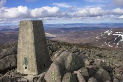 Mount Keen summit. Cairngorm Mountains, Aberdeenshire, Scotland. A view from the top of Mount Keen. Aberdeenshire, Cairngorms National Park, Scotland, UK royalty free stock image