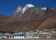 Mount Khumbila and Khumjung village in Sagarmatha National Park,. Holy mount Khumbila and Khumjung village on the way to Everest base camp, Khumbu, Sagarmatha Royalty Free Stock Photography
