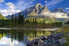 Mount Kidd in Kananaskis, Alberta at sunrise Royalty Free Stock Image