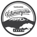 Mount Kilimanjaro in Africa, Tanzania outdoor adventure badge. Higest volcano on Earth illustration. Mount Kilimanjaro in Africa, Tanzania outdoor adventure Stock Photography