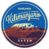 Mount Kilimanjaro in Africa, Tanzania outdoor adventure badge. Higest volcano on Earth illustration. Mount Kilimanjaro in Africa, Tanzania outdoor adventure vector illustration