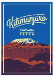 Mount Kilimanjaro in Africa, Tanzania outdoor adventure poster. Higest volcano on Earth illustration. Mount Kilimanjaro in Africa, Tanzania outdoor adventure Stock Photography