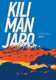 Mount Kilimanjaro in Africa, Tanzania outdoor adventure poster. Higest volcano on Earth illustration. Mount Kilimanjaro in Africa, Tanzania outdoor adventure Stock Image