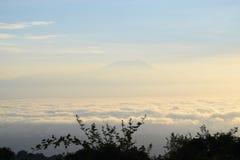 Mount Kilimanjaro. Above the clouds viewed at Miriakamba Hut, Mount Meru, Arusha National Park stock image