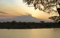 Mount Kilimanjaro silhouette at sunset Royalty Free Stock Photography