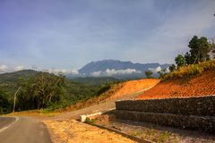 Mount Kinabalu view from roadside. royalty free stock images