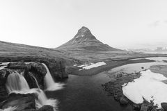 Mount Kirkjufell in Black and White Royalty Free Stock Image