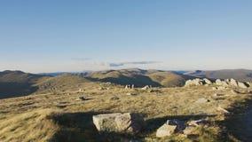 Mount Kosciuszko top panning shot stock footage