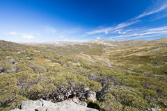 Mount Kosciuszko View. The majestic view towards Mount Kosciuszko from Charlotte Pass lookout on a clear autumn day in New South Wales, Australia Royalty Free Stock Image