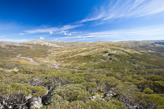 Mount Kosciuszko View. The majestic view towards Mount Kosciuszko from Charlotte Pass lookout on a clear autumn day in New South Wales, Australia Stock Photos