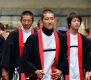 Mount Koya, Japan - June 14, 2011: Japanese high schoolers in traditional clothes Royalty Free Stock Photography