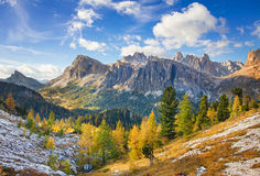 Mount Lagazuoi, Falyarego path, Dolomites Royalty Free Stock Photos