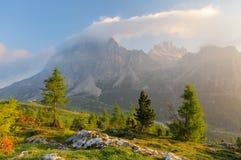 Mount Lagazuoi, Falzarego path, from Cinque Torri, Dolomites - I Stock Photography
