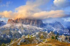 Mount Lagazuoi, Falzarego path, Dolomites Stock Photography