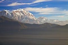 Mount Lamjung Himal at Dawn. Dawn image of Mount Lamjung Himal on the Dhaulagiri-Annapurna-Manaslu Himalayan Mountain Range, Nepal Stock Photos