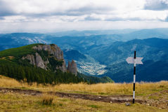 Mount landscape. A beautifull landscape in front of dochia shelter in Ceahlau mountain Royalty Free Stock Photos