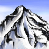 Mount landscape drawing brush strokes vector Stock Photography