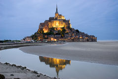 Mount Le Mont Saint Michel. Night view of Mont Saint Michel, Normandy, France stock photo