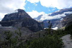 Mount Lefroy and Mount Victoria as seen from the Plain of the Six Glaciers hiking trail near Lake Louise stock image