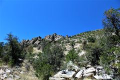 Mount Lemmon, Tucson, Arizona, United States. Scenic landscape view with vegetation of Mount Lemmon located in Tucson, Arizona in the United States stock image