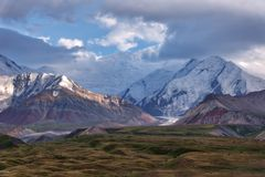 Mount Lenin seen from Basecamp in Kyrgyzstan taken in August 2018. Taken in HDR royalty free stock images